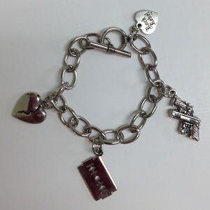 Rock Rebel guns broken heart  charm bracelet